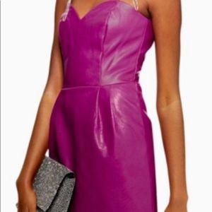Topshop leather purple strapless dress
